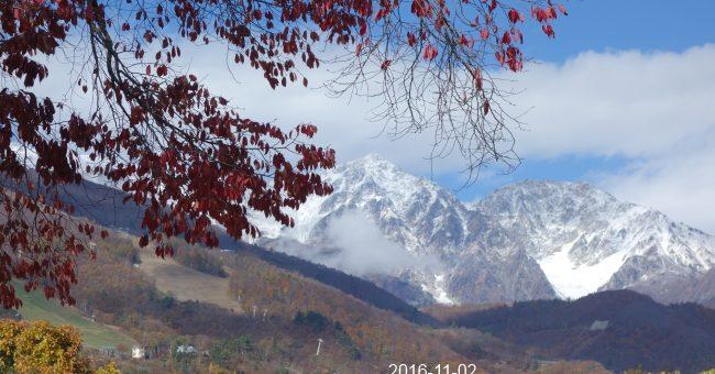 白馬三山に雪